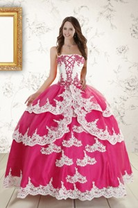 Hot Pink Strapless Quinceanera Dress With Appliques