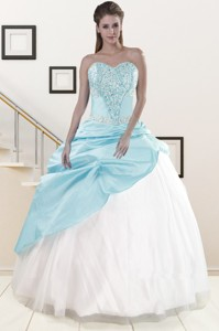 Pretty Blue And White Quinceanera Dress With Beading And Pick Ups