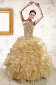 Luxurious Ruffles And Beaded Quinceanera Dress In Champange