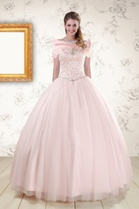 Beading Ball Gown Quinceanera Dress In Light Pink
