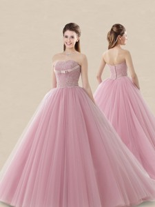 Luxurious Strapless Brush Train Sweet 16 Dress with Lace and Bowknot