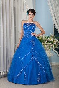 Blue Princess Strapsless Floor-length Tulle Quinceanera Dress