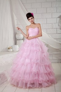 Baby Pink Ball Gown Sweetheart Floor-length Organza Beading Quinceanea Dress