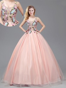 Lovely See Through Criss Cross Prom Gown with Applique Decorated Bodice