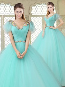 Exquisite V Neck Mint Sweet 16 Dress With Appliques