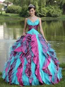 Organza Straps Beading Colorful Quinceanera Dress