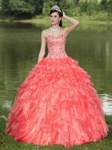 Orange Red Quinceanera Dress Clearance With Sweetheart Beaded Ruffles Layered Decorate Organza