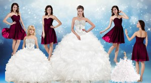 Perfect Beading White Sweetheart Quinceanera Gown And Sweetheart Short Dama Dress And Beading And