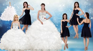 White Ball Gown Quinceanera Dress And Black Sweetheart Short Dama Dress And Beading And Ruffles Li