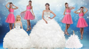 White Sweetheart Ruffles Quinceanera Dress And Sequins V Neck Pink Dama Dress And Beading White Li
