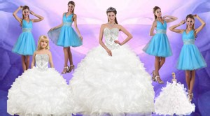 Ruffles And Beading White Quinceanera Dress And Baby Blue V Neck Dama Dress And White Pageant Dres