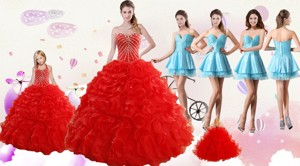 Ruffled Red Quinceanera Gown And Light Blue Sweetheart Beading Prom Dress And Halter Top Bead
