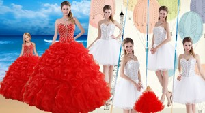 Red Ruffled Quinceanera Dress And Beaded White Short Dama Dress And Halter Top Beaded Pageant