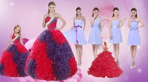 Elegant Multi Color Floor Length Quinceanera Dress And Ruching Short Dama Dress And Multi Color Ha