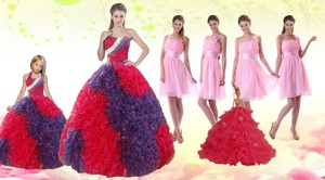 Multi Color Ball Gown Ruffles Quinceanera Dress And Ruching Baby Pink Dama Dress And Halter Top Mu