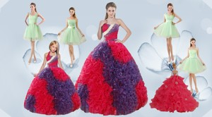 Elegant Ruffles Multi Color Quinceanera Dress And Apple Green Short Prom Dress And Multi Color Hal