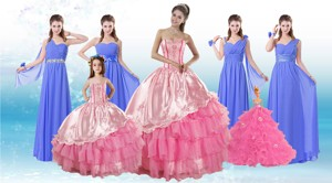 Ruffled Layers Sweetheart Quinceanera Dress And Elegant Ruching Long Dama Dress And Rose Pink Floo