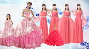 Ruffled Layers Sweetheart Quinceanera Dress And Watermelon Long Dama Dress And Rose Pink Ball Gown