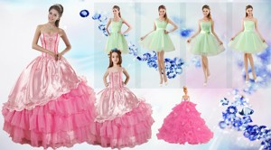 Ruffled Layers Sweetheart Quinceanera Dress And Ruching Apple Green Dama Dress And Rose Pink Littl