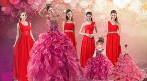 Ruffles One Shoulder Sweet 16 Dress And Red Long Beading Prom Dress And Ball Gown Straps Beading L
