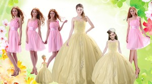 Champagne Ball Gown Quinceanera Dress And Ruching Baby Pink Dama Dress And Floor Length Littl