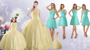 Champagne Ball Gown Quinceanera Dress And Square Knee Length Dama Dress And Cute Beading Little Gi