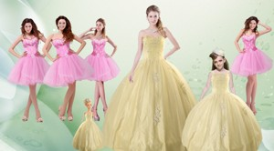 Beautiful Sweetheart Champagne Quinceanera Dress And Pink Dama Dress And Straps Ball Gown Lit