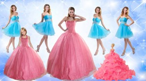 Cute Ball Gone Quinceanera Dress And Beading Baby Blue Dama Dress And Rose Pink Halter Top Little