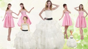 White Strapless Beading Quinceanera Dress And Baby Pink Short Beading Prom Dress And Affordable Li