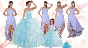 Strapless Ruffles Elegant Quinceanera Dress and Fashionable High Low Prom Dress and Appliques and Ru