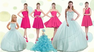 Apple Green Sweetheart Quinceanera Dress And Hot Pink Knee Length Prom Dress And Beading And Ruffl