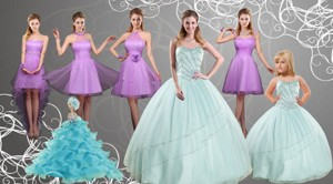 Cheap Sweetheart Beading Quinceanera Dress And Lilac Short Prom Dress And Apple Green Spaghetti St