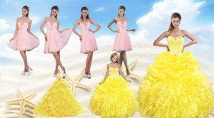 Yellow Sweetheart Beading Quinceanera Dress And Light Pink Short Prom Dress And Ruffles And Beadin