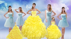 Yellow Sweetheart Rufflers Beading Quinceanera Dress And Bownot Short Prom Dress And Yellow Spaghe