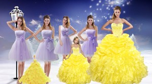 Yellow Sweetheart Beading Ruffles Quinceanera Dress And Lavender Short Dama Dress And Beading Ruff