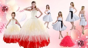 Multi Color Strapless Beading Quinceanera Dress And White Strapless Ruching Prom Dress And Halter