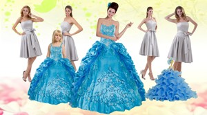 Teal Sweetheart Embroidery Quinceanera Dress And Strapless Short Dama Dress And Spaghetti Straps R