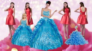 Embroidery And Pick Ups Quinceanera Dress And Ruching Short Dama Dress And Spaghetti Straps Teal L