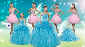 Baby Blue Ball Gown Pick Ups Quinceanera Dress And Beading Rose Pink Short Dama Dress And Pick Ups