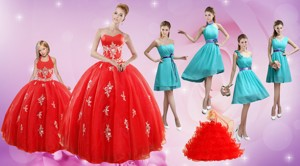 Elegant Appliques Red Quinceanera Dress And Turquoise Short Dama Dress And Halter Top Ball Go