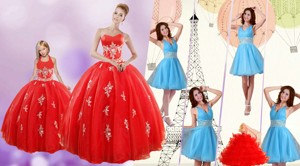 Sweetheart Ball Gown Red Quinceanera Gown And V Neck Beading Short Prom Dress And Red Halter Top L