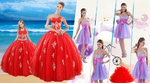 Elegant Red Sweetheart Quinceanera Dress And Sash And Beading Short Dama Dress And Halter Top Red
