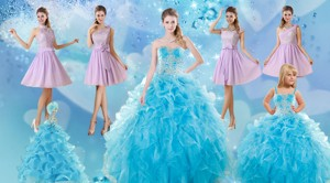 Baby Blue Ball Gown Ruffles Quinceanera Dress And Lilac Short Dama Dress And Applique And Ruffles