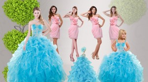 Baby Blue Ruffles Quinceanera Dress Baby Pink Dama Dress And Straps Applique