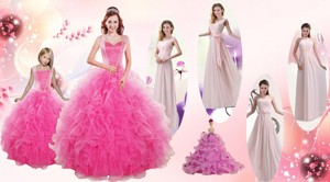 Beading And Ruffles Ball Gown Quinceanera Dress And Long Dama Dress And Beading And Ruffles Little