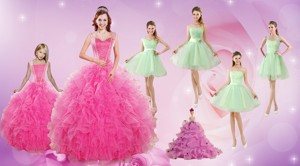 Beautiful Ruffles And Beading Quinceanera Dress And Apple Green Short Dama Dress And Beading Littl