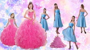 Beading And Ruffles Quinceanera Dress And Strapless Knee Length Baby Blue Dama Dress And Rufles Cu