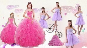 Popular Beading And Ruffles Quinceanera Dress And Bownot And Beading Short Dama Dress And Pink Flo