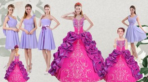 Multi Color Embroidery And Bubbles Quinceanera Dress And Ruching Short Dama Dress And Spaghetti St