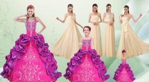 Spaghetti Straps Multi Color Quinceanera Dress And Long Ruching Dama Dress And Ruffels And Embroid